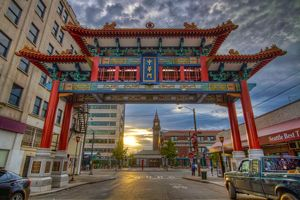 Seattle Washington Chinatown gate at Sunset