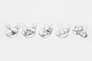 Sequence of black and white illustrations showing how to make bread dough