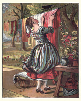 Sing a Song of Sixpence, Maid Hanging out the clothes
