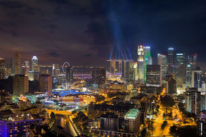 Singapore City Lights at Night