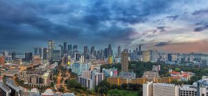 Singapore sklyine at Twilight Panorama