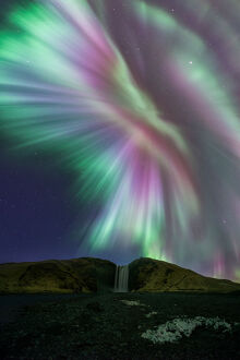 Skogafoss with Aurora Display Iceland