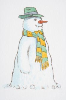 Smiling snowman wearing green hat and yellow-green striped scarf, side view.
