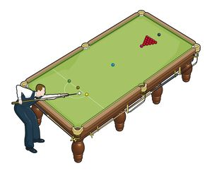 Snooker player and table