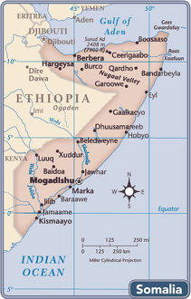 Somalia country map
