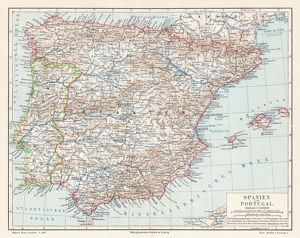 Spain and Portugal map 1895
