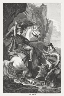 St George's Battle with the Dragon, wood engraving, published 1882