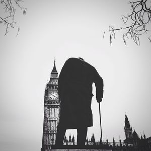 Statue Of Winston Churchill With Big Ben