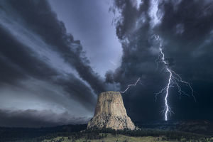 travel/photographer collections john finney photography/storm devils tower wyoming usa