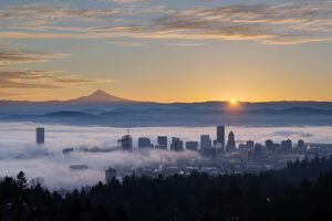 Sunrise over Foggy Portland Oregon