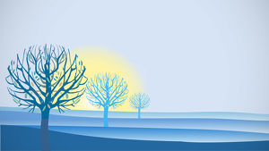 Sunrise Landscape in Blue with Trees
