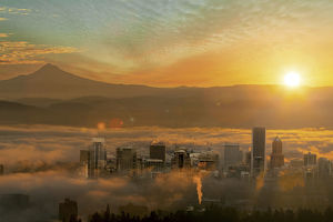 Sunrise and Rolling Fog over city of Portland Oregon