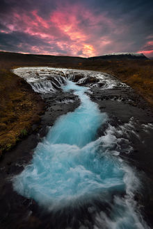 global landscape views/fred concha photography/sunset braoarfoss waterfall iceland