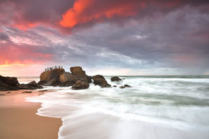 global landscape views/fred concha photography/sunset santa cruz beach portugal