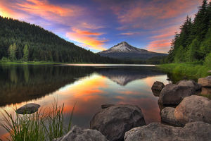 Sunset at Trillium Lake with Mount Hood