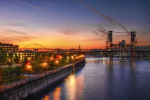 Sunset Over Willamette River Portland Oregon