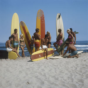 Surfers holding surfboards on beach