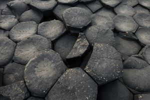 The texture of basalt column at Giant's Causeway, Northern Ireland