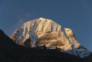 Tibetan Buddhism, snow-capped sacred Mount Kailash, or Gang Rinpoche, pilgrims trail