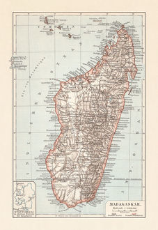 Topografic map of Madagascar, lithograph, published in 1897