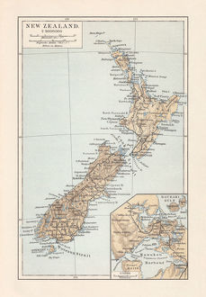 Topographic map of New Zealand, lithograph, published in 1897