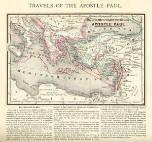 Travels of The Apostle Paul Map Engraving
