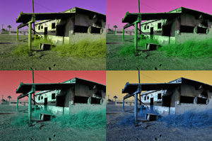 USA, California, Bombay Beach, charred house (montage)
