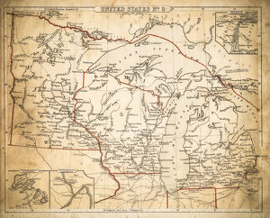 USA East North central map of 1869