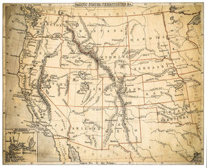 USA Pacidic States map of 1869