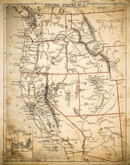 USA Pacific States map of 1869