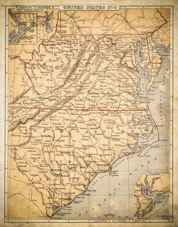 USA Southern States map of 1869