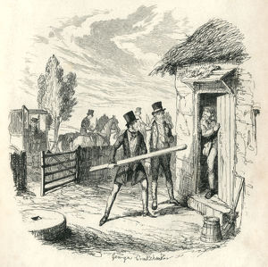 Two Victorian men trying to force entry to a cottage