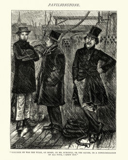 Victorian passengers on a ship on a rainy day