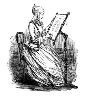Victorian woman working at an embroidery frame