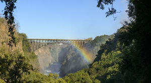View of Bridge across the Zambezi River and Batoka Gorge from the path to The Boiling Pot