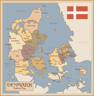 Vintage Map of Denmark