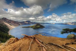Wizard Island in Crater Lake in Central Oregon