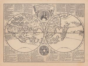 World map by Martin Behaim, 1492, wood engraving, published 1884