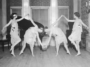 Four young women performing modern dance (B&W)